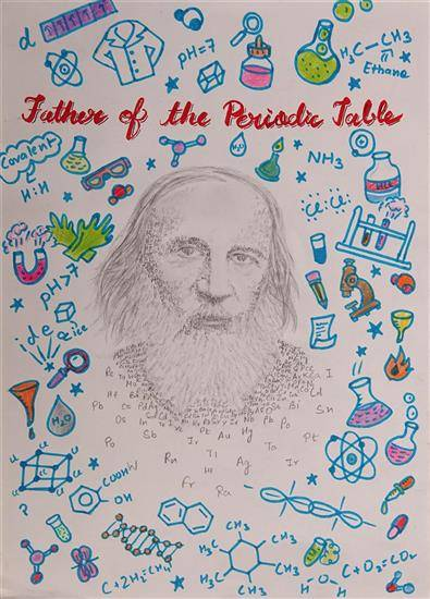 Father of the periodic table, painting by Aditi Gupta