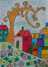 Painting  by Ananya Jhalani - Houses