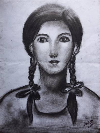 Painting  by Anuska Biswas - Girl in plaits