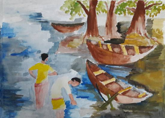 painting by Arnav Dulal Ghosh - Boats