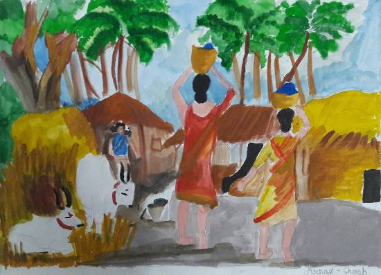 Village, painting by Arnav Dulal Ghosh