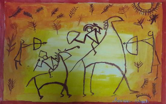 Painting  by Arnav Dulal Ghosh - Warriors
