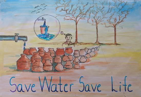 Save water, painting by Arshad Atique Sarang