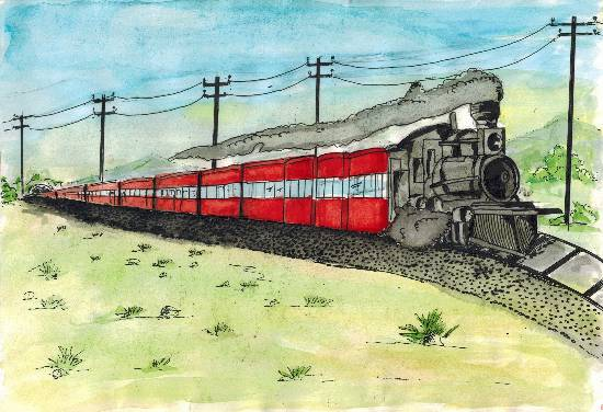 Painting  by Arshad Atique Sarang - My Memorable Train Journey