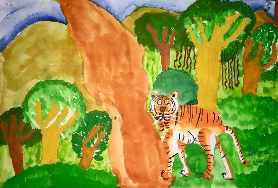painting by Deeva Sajith Abraham - Tiger
