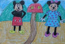 Painting  by Dhanishta Devendra Suryavanshi - Mickey Mouse & Mini Mouse