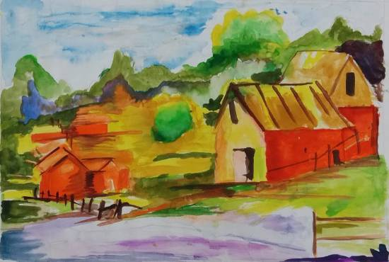 painting by Gargei Rahul Lavekar - Scenery (Village)