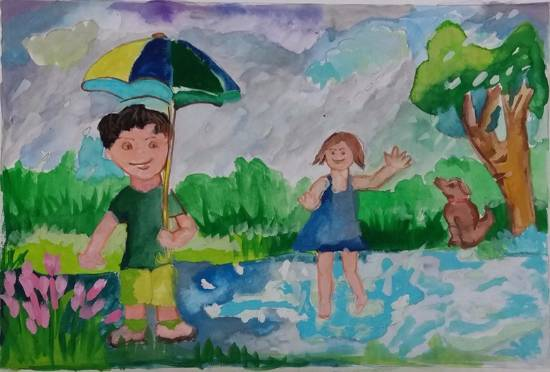 Rainy Season, painting by Gargei Rahul Lavekar