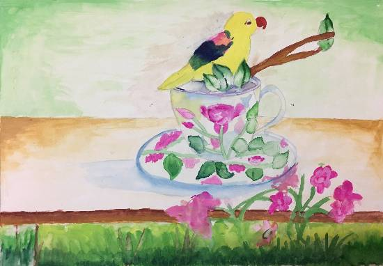 painting by Gargei Rahul Lavekar - Bird on a Tea Cup