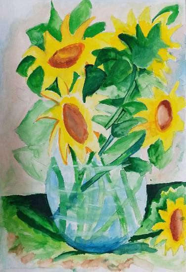 painting by Gargei Rahul Lavekar - Sunflower Vas