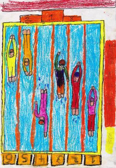 Painting  by Abha Shashikant Chincholi - My swimming Competition