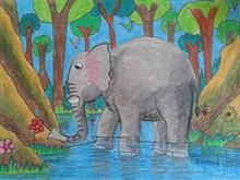 Painting  by Indraneel Amol Hajarnis - Elephant