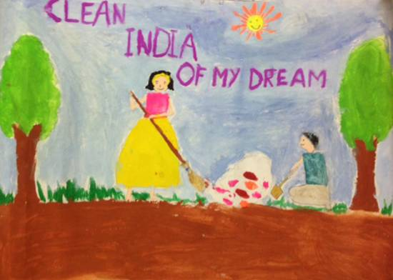 painting by Amulya Alatagi - Clean India