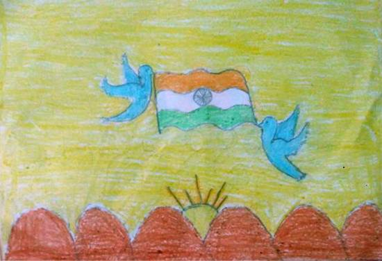 painting by Amulya Alatagi - India flag
