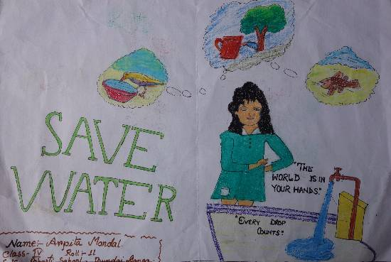 Painting  by Arpita Mandal - Save water