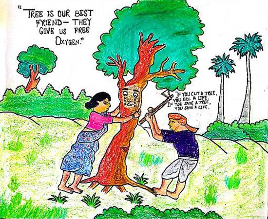 save trees painting by arpita mandal