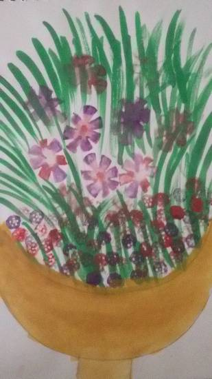 painting by Jasika Mandar Sawant - Flower pot