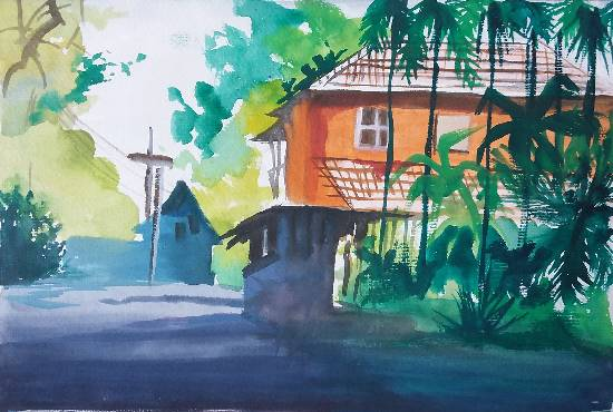 My House in town, painting by Avni Rastogi