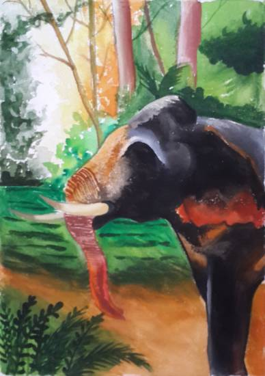 Painting  by Avni Rastogi - Unannounced King of Jungle