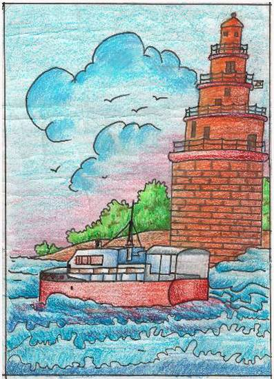 Painting  by Chinmayee Nilesh Sardesai - Lighthouse