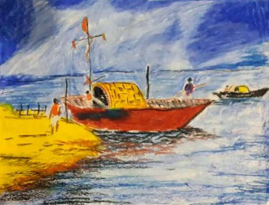 Painting  by Jyotirmoy Dutta - Boats