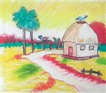 painting by Jyotirmoy Dutta - House
