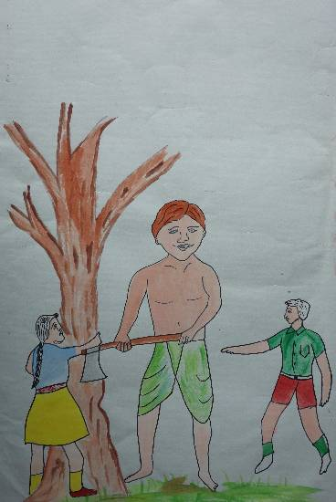 painting by Komalpreet Kaur - Save Trees