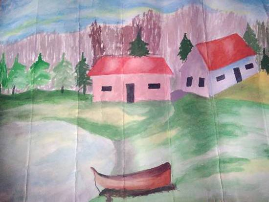 Houses, painting by Komalpreet Kaur