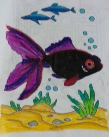 painting by Mansvi Bhagwat - Fishes