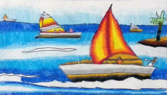 Boat, painting by Mansvi Bhagwat