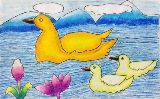 Duck in Water, painting by Mansvi Bhagwat