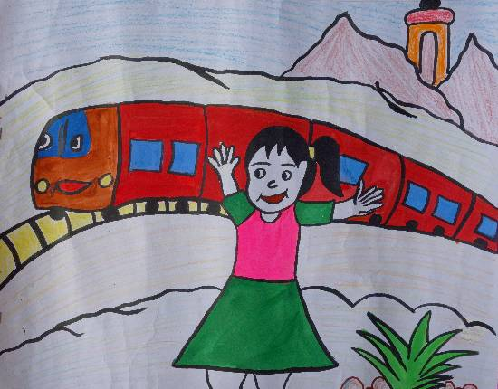 My Journey by Train, painting by Rajni