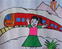 Painting  by Rajni  - My Journey by Train