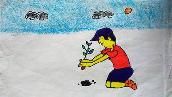Painting  by Rida Sultana - Tree Plantation