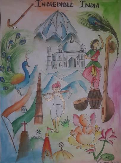 Incredible India Painting by Krisha Amish Shah