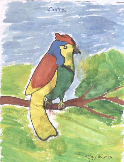Painting  by S Sanjaykumar - Tree & Parrot