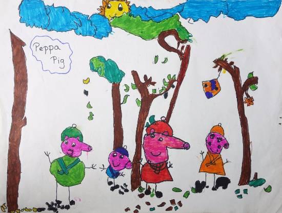 Peppa Pig Family Painting By Saanvi Rajendra Kulkarni