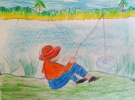 Painting  by Saanvi Rajendra Kulkarni - Fishing
