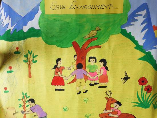 Save Trees, Grow Trees, painting by Sandhya Devi
