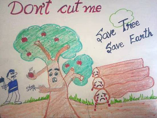 Painting  by Satveer Singh - Save Trees