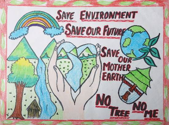 Painting  by Sukhpreet Kaur - Save Trees