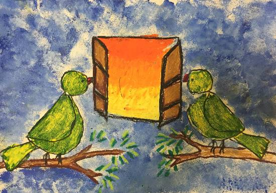 painting by Maisha Nazim Furniturewala - Parrots