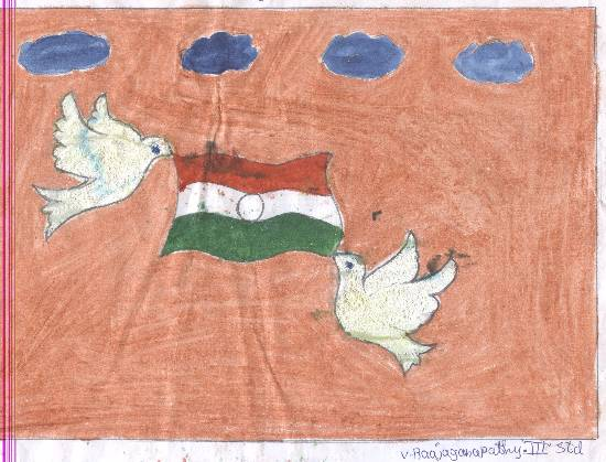Painting  by V Rajaganapathy - Our Flag