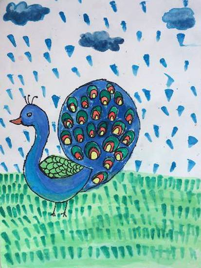 painting by Manasvi Vikas Joshi - Peacock