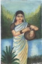 Painting  by Hari Haran Chokkalingam - Watering lady