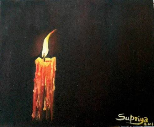 The candle, painting by Supriya Choudhary