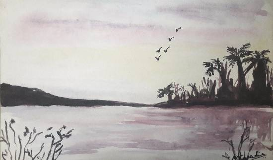 Lake, painting by Mariya Kapadia