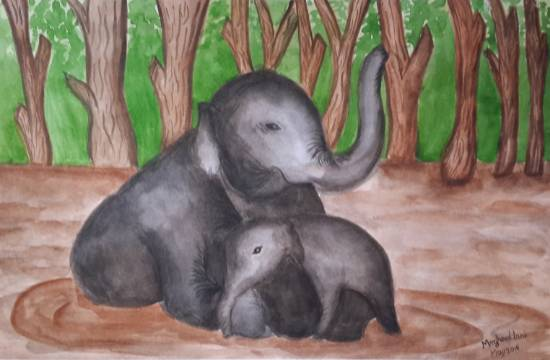 Painting  by Meghna Unnikrishnan - Mother & Baby Elephants in Forests