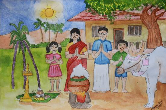 Painting  by Meghna Unnikrishnan - Pongal Festival