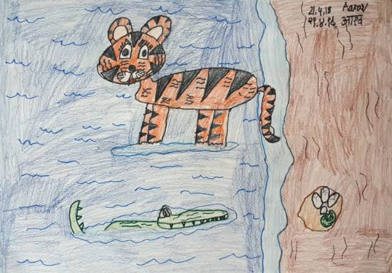 painting by Aarav Nitesh Shetty - Sonam the tiger and mommy alligator